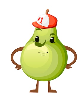 배 그림입니다. 귀여운 과일 마스코트. 야구 모자 번호 1 배 점프. 흰색 배경에 그림입니다. 웹 사이트 페이지 및 모바일 앱.