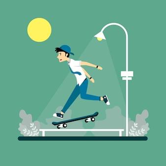 スケートボードをしている人のイラスト Premiumベクター