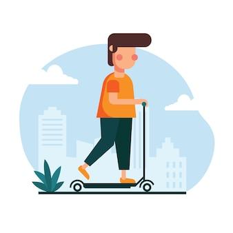 Иллюстрация человека, едущего на скутере