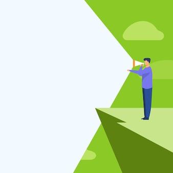 Иллюстрация человека, стоящего в скале, используя мегафон в одной руке, делая новое объявление. бизнесмен верхней горы рисунок, производящий блестящую позднюю рекламу.
