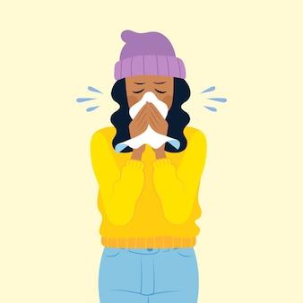 風邪を持つ人のイラスト