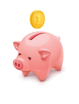 黄金のコインとピンクの貯金箱のイラスト。