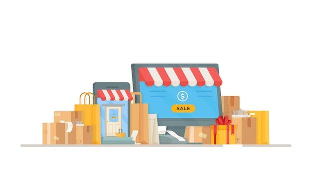 Иллюстрация реестра почтового отделения. онлайн шоппинг. покупки в магазине. чертеж мешков и ящиков, стоящих у входа в магазин.