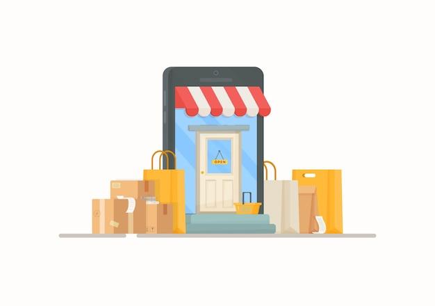 Иллюстрация почтового отделения. покупки в продуктовом магазине. чертеж мешков и ящиков, стоящих у входа в магазин.