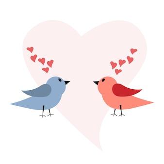 연인들의 휴가를 위한 엽서의 삽화. 두 마리의 새와 마음