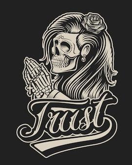 チカーノタトゥースタイルで祈るスケルトンのイラスト。シャツのプリントなどに最適です。