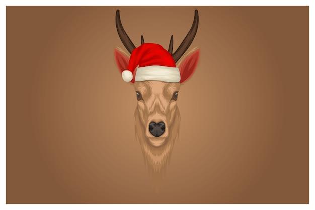 クリスマスの帽子をかぶったトナカイのイラスト