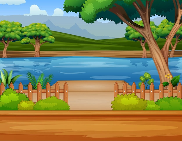 Иллюстрация реки у дороги