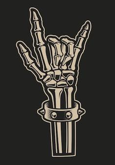 Иллюстрация знака руки рок на темном фоне. идеально подходит для дизайнерских футболок и многого другого