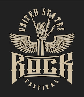 Иллюстрация знака руки рок с крыльями на темном фоне. идеально подходит для дизайнерских футболок и многого другого