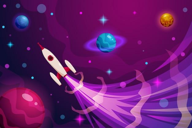 Иллюстрация запуска ракеты в космос