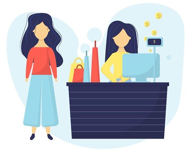상점의 계산대에서 판매원 소녀의 그림