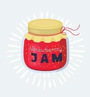 Иллюстрация бутерброд с stawberry вареньем на белом фоне