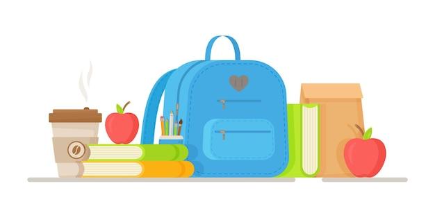 학교 점심 세트의 그림입니다. 어린이 저녁 음료 및 음식 뜨거운 음료, 샌드위치 식품 포장을위한 과일과 채소. 파란색 학교 배낭.