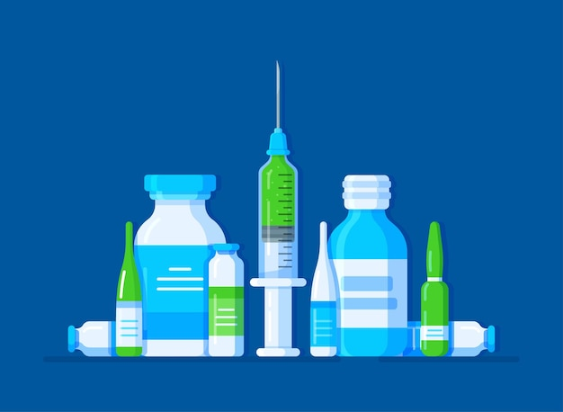 Иллюстрация набора медицинских препаратов