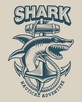 ビンテージスタイルのアンカーを持つサメのイラスト。ロゴ、シャツ、その他多くの用途に最適
