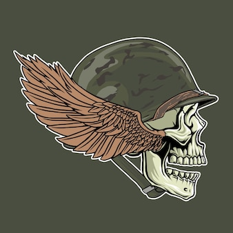 Ww2 헬멧과 날개를 착용한 두개골의 그림