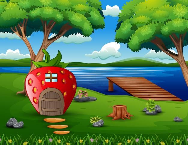 Иллюстрация клубничного домика у озера