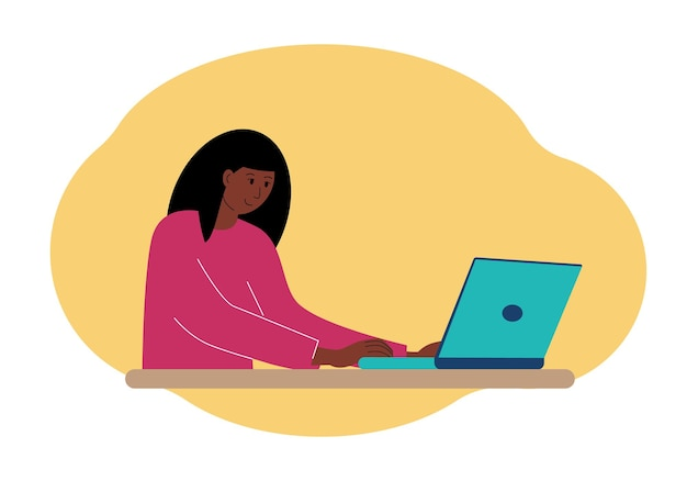 Иллюстрация стильной женщины, работающей на ноутбуке.