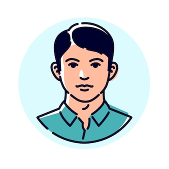 Иллюстрация стильного молодого человека. аватар мужчины для профиля. Premium векторы