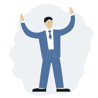 彼の手を上げてスーツを着て成功した男のイラスト。ビジネス達成の概念