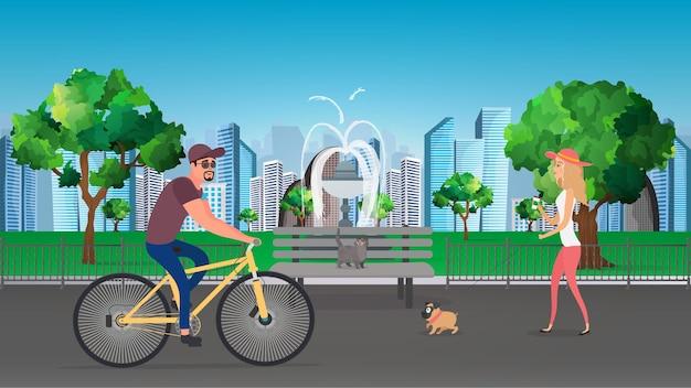 夏の都市公園のイラスト。犬を連れた少女が公園を散歩します。