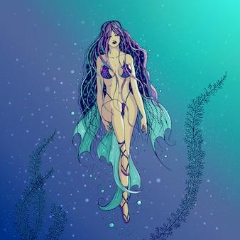 長く美しい髪の水泳海人魚のイラスト。ヒレと水要素の水要素を楽しんでいる水着の鱗の水女の少女。フリーハンドでの描画。