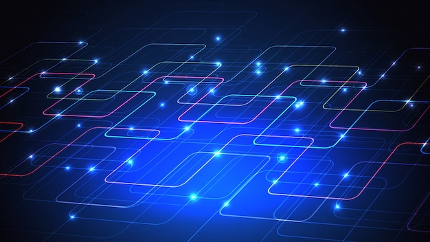 Иллюстрация техно дизайн технологии светящихся линий на синем фоне.