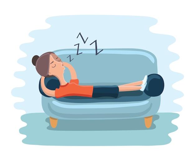 Иллюстрация девочки-подростка, которая заснула на диване во время учебы Premium векторы