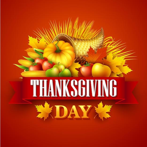 수확 과일과 야채로 가득한 추수 감사절 풍요의 그림. 가을 인사말 디자인입니다. 가을 수확 축하. 호박과 잎입니다. 벡터 일러스트 레이 션 eps10