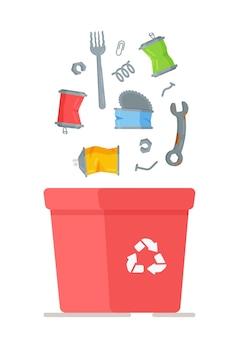 쓰레기의 그림 캔 쓰레기통입니다. 빨간 쓰레기통은 금속으로 채워진 쓰레기통입니다. 집과 마당 청소. 쓰레기 수거 주문 서비스.