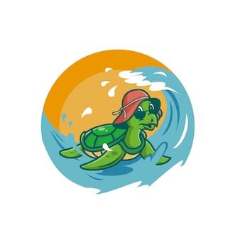 波を楽しむ亀のイラスト