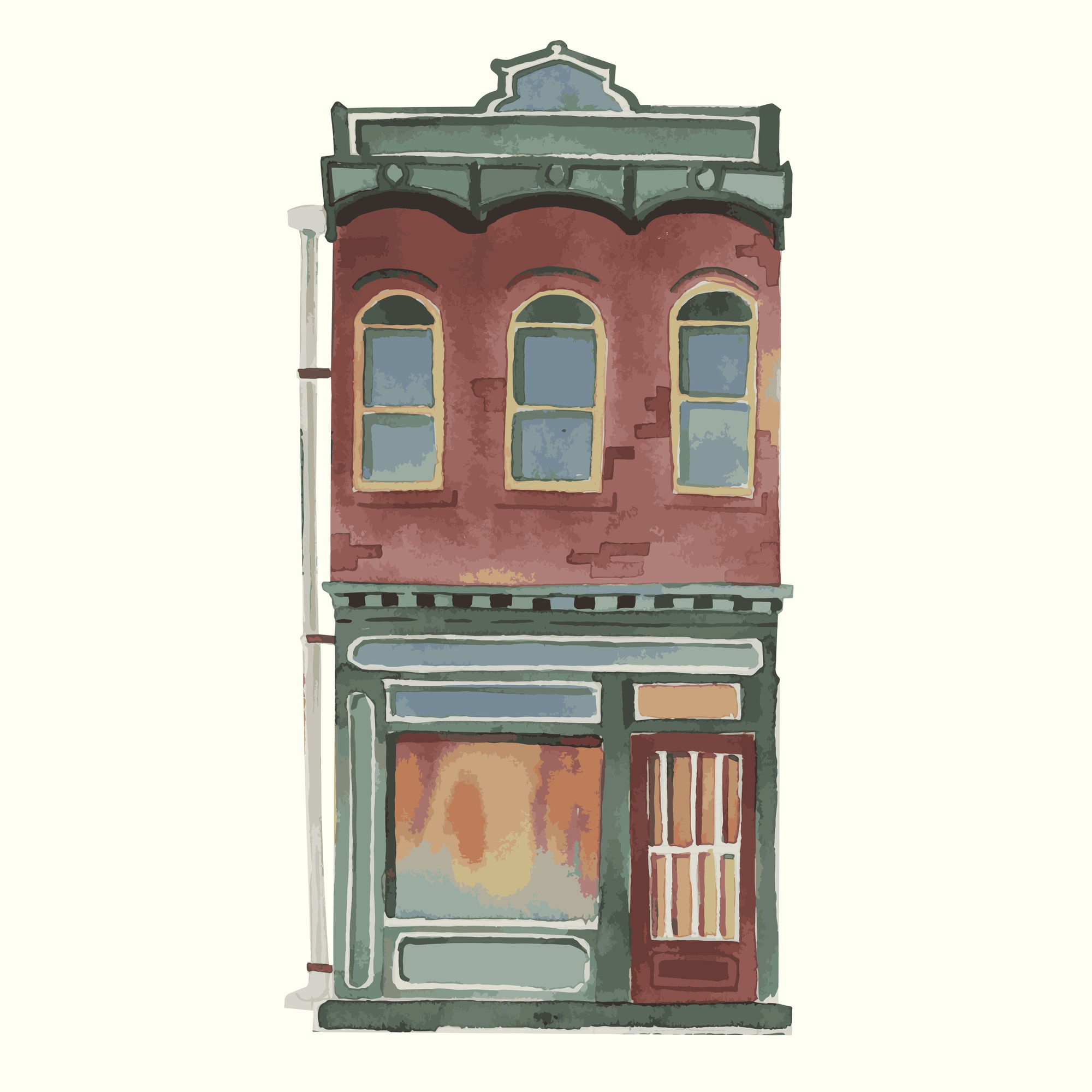 Illustration of a vintage European building exterior in water color