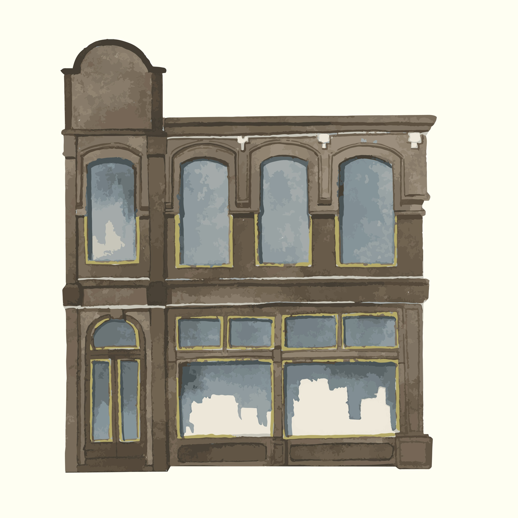 Illustration of a vintage European city building exterior water color style