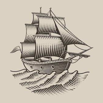 白い背景の上の彫刻スタイルのヴィンテージ船のイラスト。分離されました。