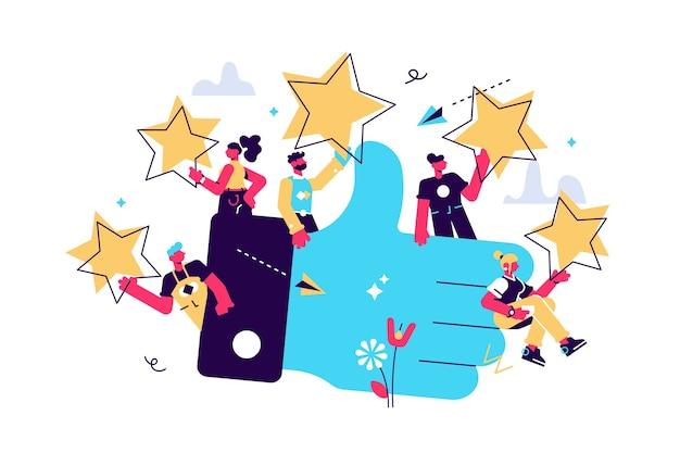 Иллюстрация оценки удовлетворенности клиентов и звездного рейтинга голосованием