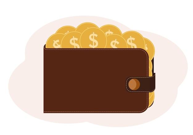 ドルのイメージでコインでいっぱいの財布のイラスト