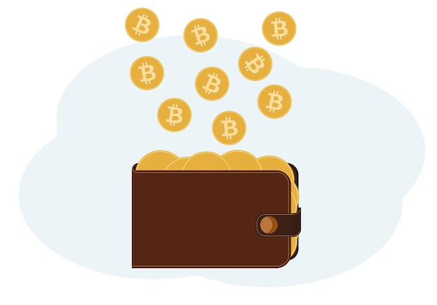暗号通貨をイメージしたコインでいっぱいの財布のイラスト