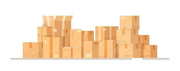 Иллюстрация склада коробок куча уложенных друг на друга запечатанных картонных коробок