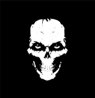 黒の背景に白い頭蓋骨のイラスト入れ墨の頭蓋骨スカーフのイラスト