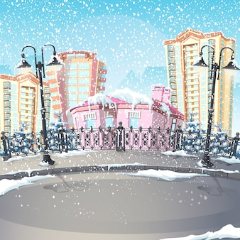 Иллюстрация зимнего города