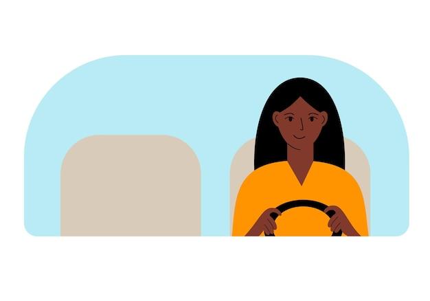 運転中の女性ドライバーのイラスト。フロントガラスを通して見る