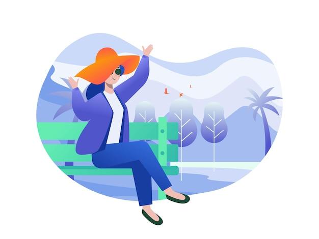 Иллюстрация женщины, наслаждающейся отпуском