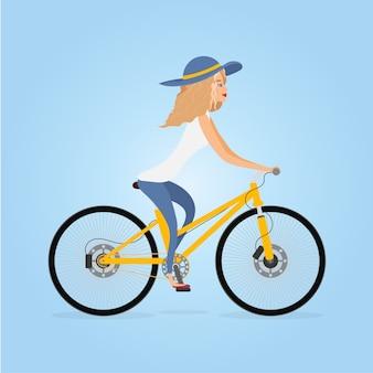 自転車に乗っている女性のイラスト