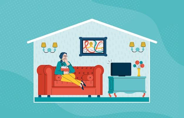 Иллюстрация женщины, сидящей на диване и смотрящей телевизор