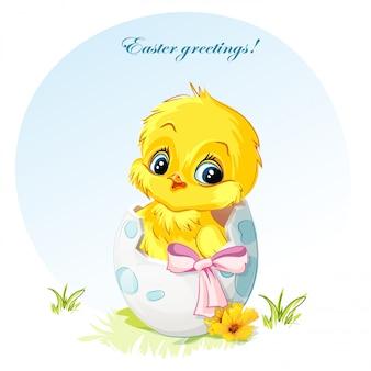 Иллюстрация молодого цыпленка в яичном розовом банте