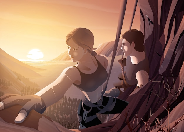 Иллюстрация молодой пары, поднимающейся на скалу вместе на фоне красивых пейзажей морского устья и восходящего солнца