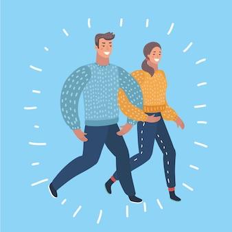 歩く若いカップルのイラスト