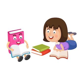 本を読んでいる少女のイラスト