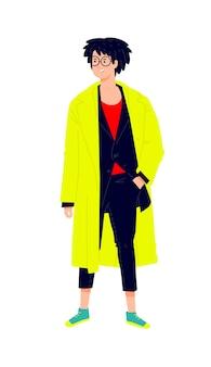 Иллюстрация молодого человека в ярком желтом плаще. стильный хипстер в костюме.